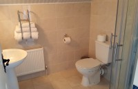 Ensuite facilities showing toilet and hand basin  in Johnny B's B&B, Ballybofey, Co. Donegal, Ireland
